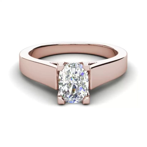 Cathedral 0.9 Carat VS2 Clarity H Color Oval Cut Diamond Engagement Ring Rose Gold 3