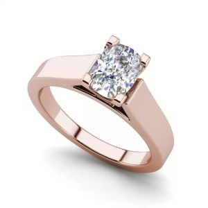 Cathedral 0.9 Carat VS2 Clarity H Color Oval Cut Diamond Engagement Ring Rose Gold