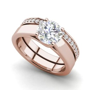Channel Set 2.75 Carat VVS1 Clarity D Color Round Cut Diamond Engagement Ring Rose Gold