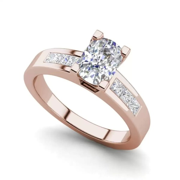 Channel Set 2.95 Carat VS2 Clarity F Color Oval Cut Diamond Engagement Ring Rose Gold