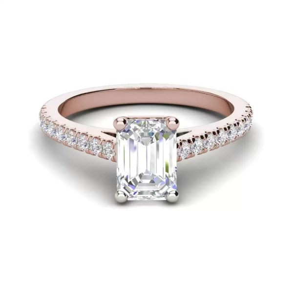 Classic Pave 2.45 Carat VS2 Clarity D Color Emerald Cut Diamond Engagement Ring Rose Gold 3
