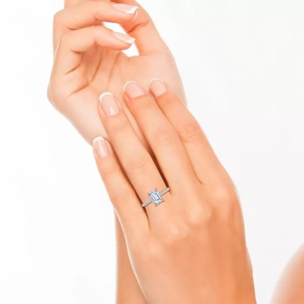 Classic Pave 2.7 Carat VVS1 Clarity D Color Emerald Cut Diamond Engagement Ring Rose Gold 4