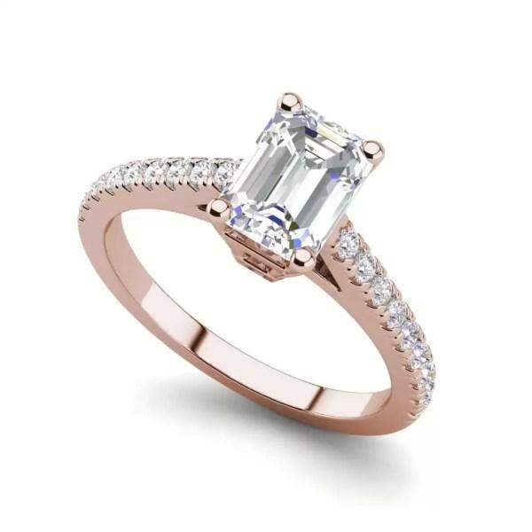 Classic Pave 2.7 Carat VVS1 Clarity D Color Emerald Cut Diamond Engagement Ring Rose Gold