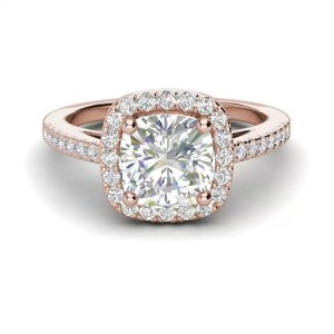 Halo 1.45 Carat VS2 Clarity F Color Cushion Cut Diamond Engagement Ring Rose Gold 3