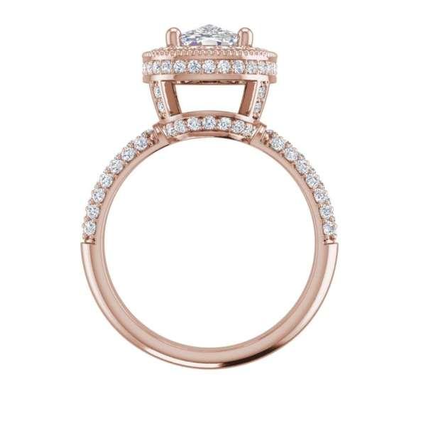 Halo 1.5 Carat VS1 Clarity H Color Cushion Cut Diamond Engagement Ring Rose Gold 2