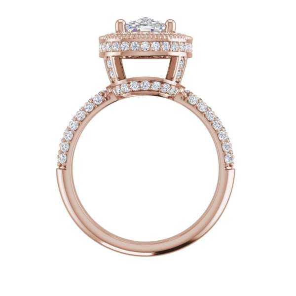Halo 2.25 Carat VS2 Clarity F Color Cushion Cut Diamond Engagement Ring Rose Gold 2