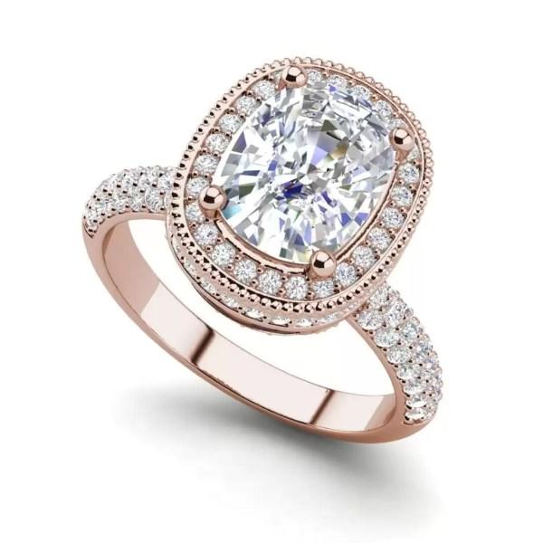 Halo 2.25 Carat VS2 Clarity F Color Cushion Cut Diamond Engagement Ring Rose Gold