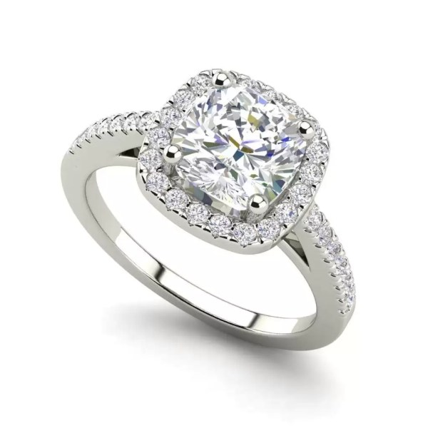 Halo 2.7 Carat VS1 Clarity F Color Cushion Cut Diamond Engagement Ring White Gold