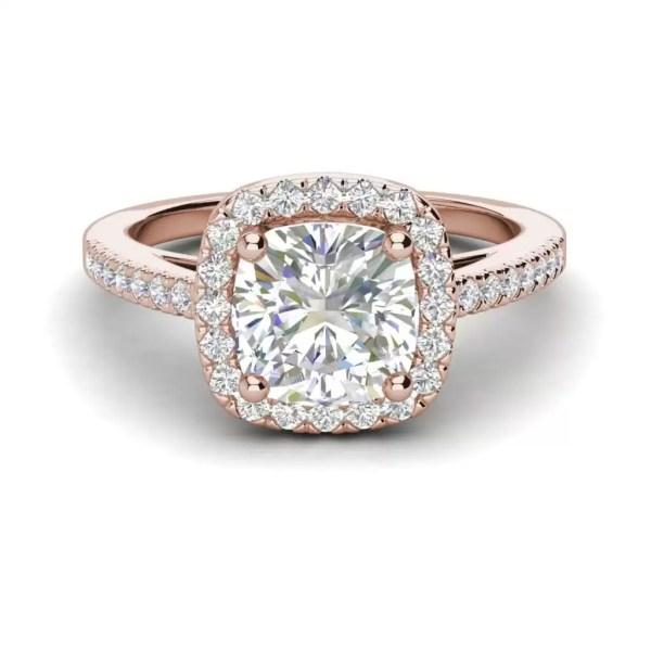 Halo 3.2 Carat VVS1 Clarity D Color Cushion Cut Diamond Engagement Ring Rose Gold 3