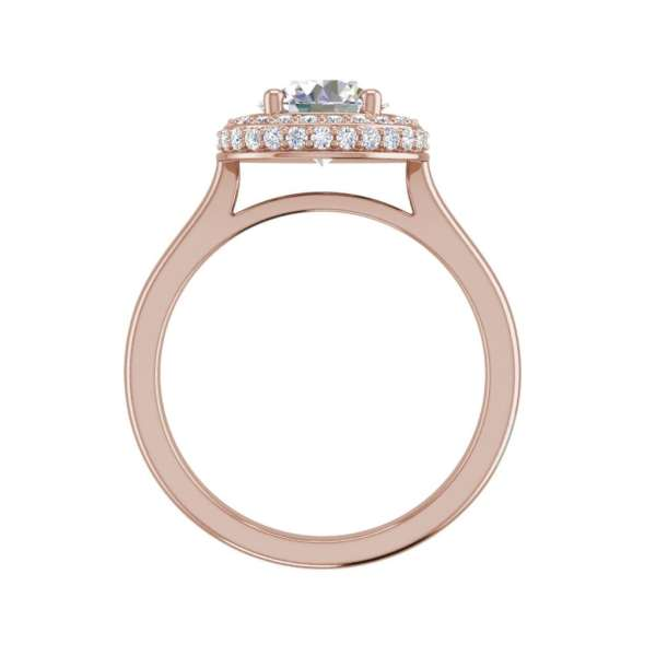 Halo Pave 1.15 Carat SI1 Clarity D Color Round Cut Diamond Engagement Ring Rose Gold 2