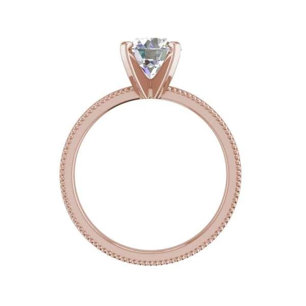 Milgrain Solitaire 0.75 Ct VS2 Clarity F Color Round Cut Diamond Engagement Ring Rose Gold 2