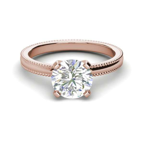 Milgrain Solitaire 0.75 Ct VS2 Clarity F Color Round Cut Diamond Engagement Ring Rose Gold 3
