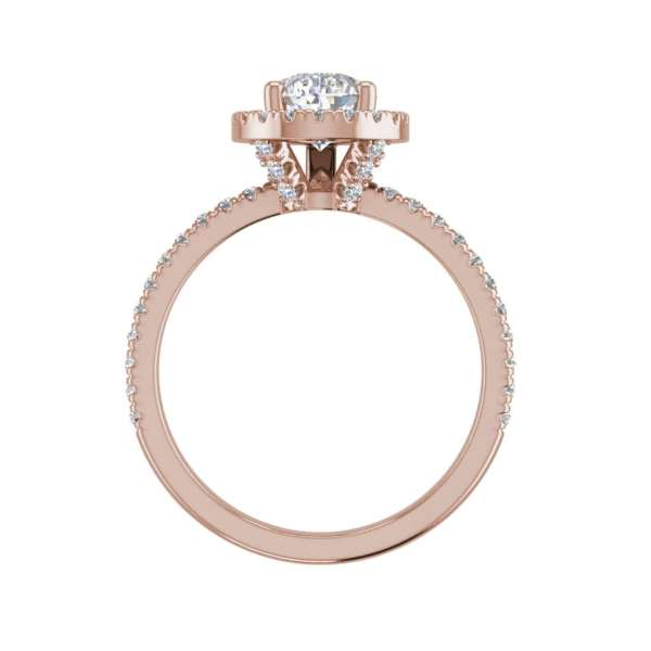Pave Halo 2.2 Carat SI1 Clarity F Color Pear Cut Diamond Engagement Ring Rose Gold 2