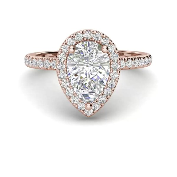 Pave Halo 2.2 Carat SI1 Clarity F Color Pear Cut Diamond Engagement Ring Rose Gold 3