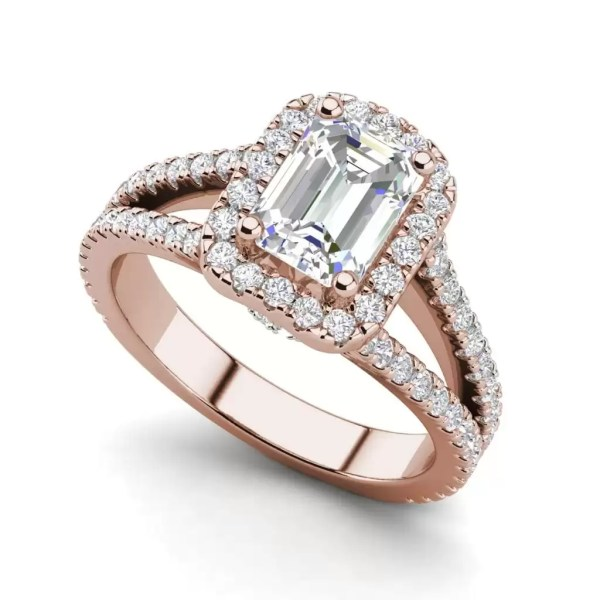 Pave Halo 2.4 Carat VS2 Clarity F Color Emerald Cut Diamond Engagement Ring Rose Gold