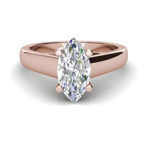 Solitaire 0.5 Carat VVS1 Clarity D Color Marquise Cut Diamond Engagement Ring Rose Gold 3
