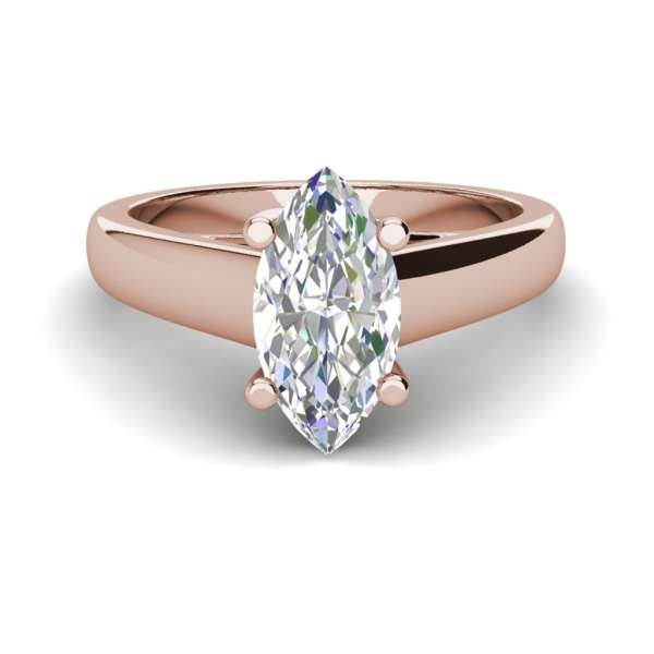 Solitaire 0.5 Carat VVS1 Clarity D Color Marquise Cut Diamond Engagement Ring Rose Gold 3