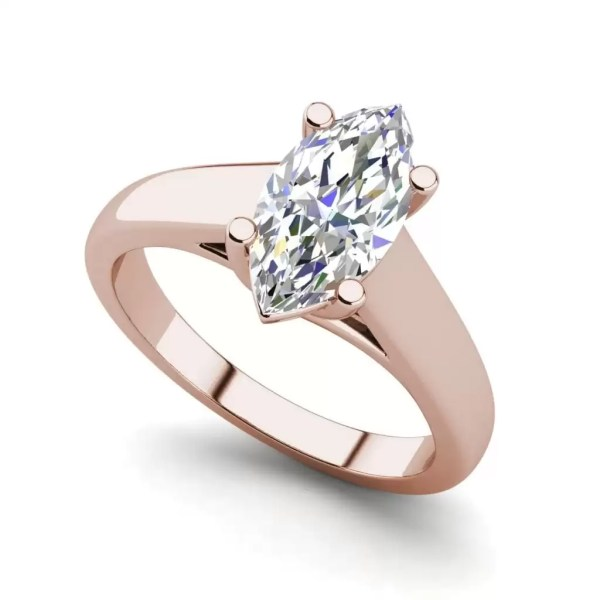 Solitaire 0.5 Carat VVS1 Clarity D Color Marquise Cut Diamond Engagement Ring Rose Gold