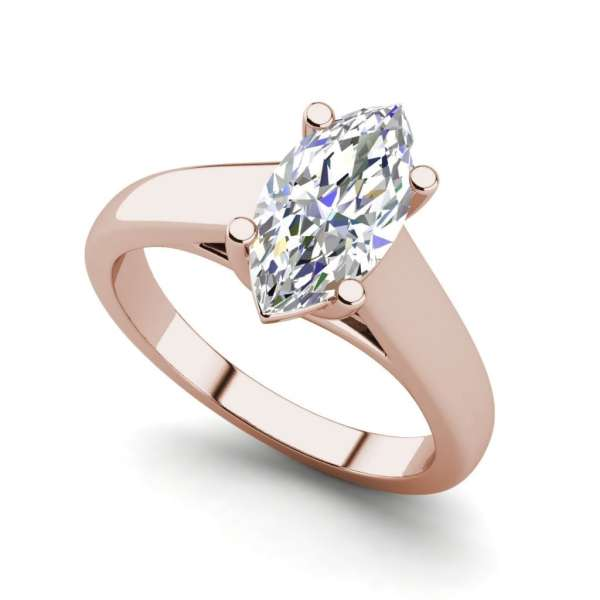 Solitaire 0.5 Carat VVS2 Clarity F Color Marquise Cut Diamond Engagement Ring Rose Gold