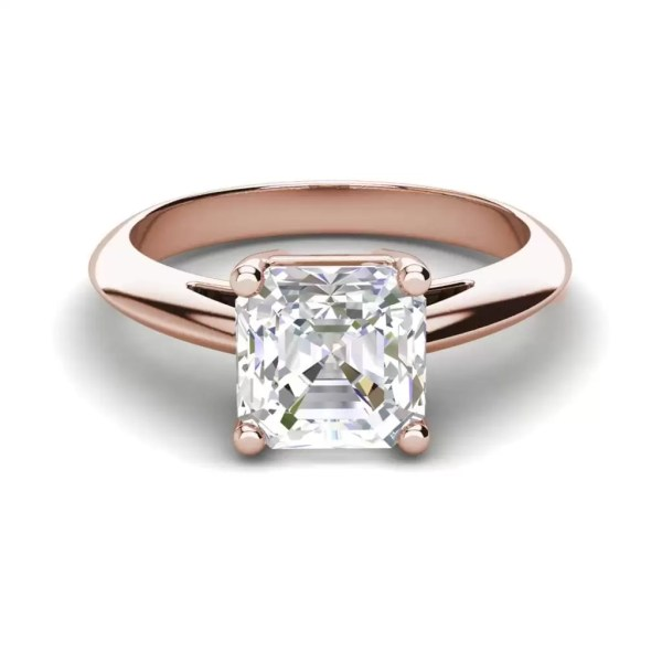 Solitaire 1.5 Carat VS1 Clarity F Color Cushion Cut Diamond Engagement Ring Rose Gold 3