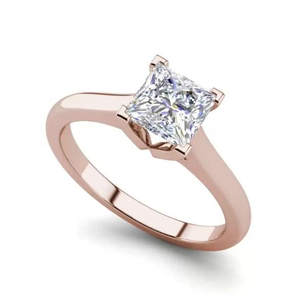 Solitaire 2.25 Carat VS2 Clarity F Color Princess Cut Diamond Engagement Ring Rose Gold
