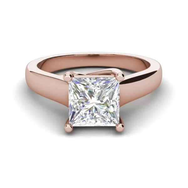 Solitaire 2.75 Carat SI1 Clarity F Color Princess Cut Diamond Engagement Ring Rose Gold 3
