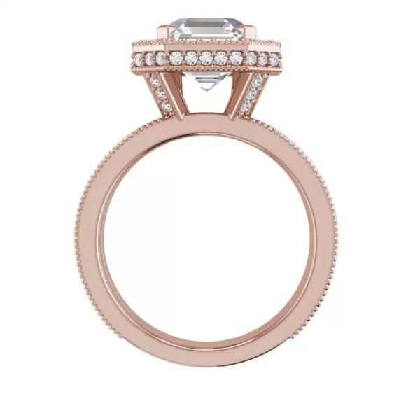 Split Shank Pave 2 Carat VS1 Clarity H Color Asscher Cut Diamond Engagement Ring Rose Gold 4