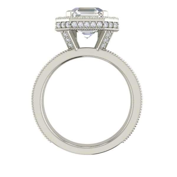 Split Shank Pave 2 Carat VVS1 Clarity D Color Asscher Cut Diamond Engagement Ring White Gold 2