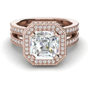Split Shank Pave 2.15 Carat SI1 Clarity F Color Asscher Cut Diamond Engagement Ring Rose Gold 3