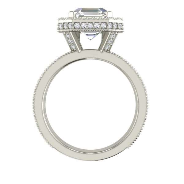 Split Shank Pave 2.15 Carat SI1 Clarity F Color Asscher Cut Diamond Engagement Ring White Gold 2