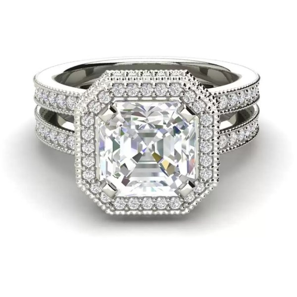 Split Shank Pave 2.15 Carat SI1 Clarity F Color Asscher Cut Diamond Engagement Ring White Gold 3