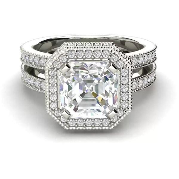 Split Shank Pave 2.15 Carat SI1 Clarity F Color Asscher Cut Diamond Engagement Ring White Gold 3