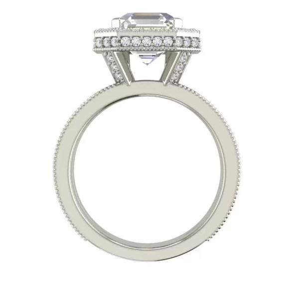 Split Shank Pave 3.25 Carat VS2 Clarity F Color Asscher Cut Diamond Engagement Ring White Gold 2