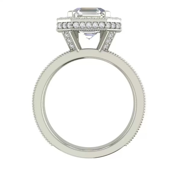 Split Shank Pave 3.25 Carat VS2 Clarity F Color Asscher Cut Diamond Engagement Ring White Gold 2