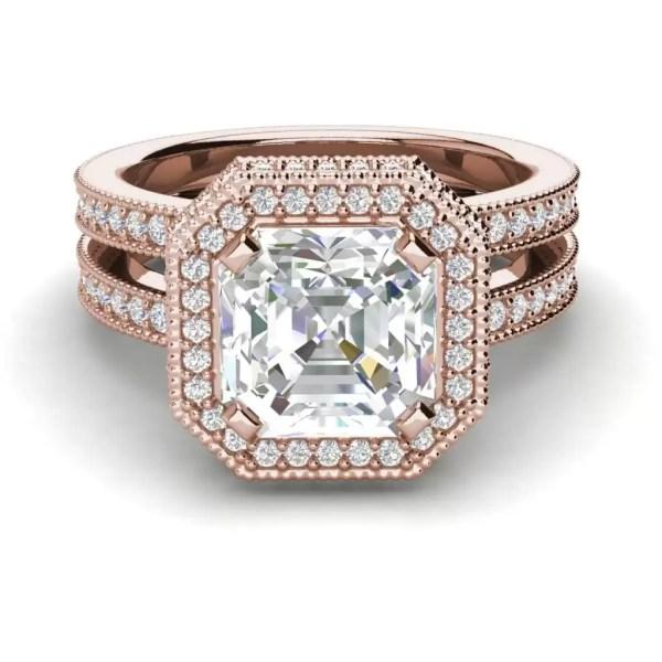 Split Shank Pave 3.5 Carat VS1 Clarity F Color Asscher Cut Diamond Engagement Ring Rose Gold 3