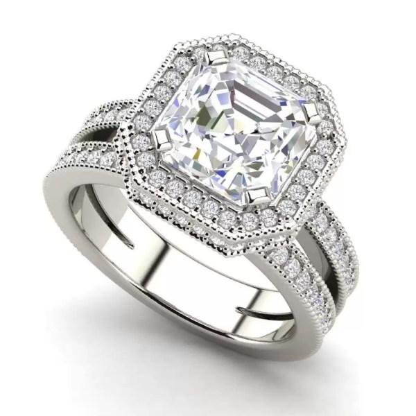 Split Shank Pave 3.5 Carat VS1 Clarity F Color Asscher Cut Diamond Engagement Ring White Gold