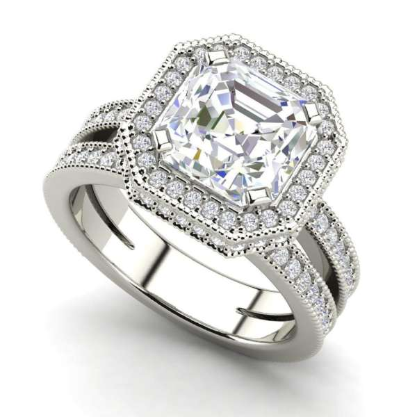 Split Shank Pave 3.5 Carat VS1 Clarity F Color Asscher Cut Diamond Engagement Ring White Gold