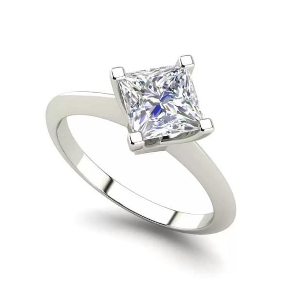 4 Prong 0.75 Carat VS1 Clarity F Color Princess Cut Diamond Engagement Ring White Gold