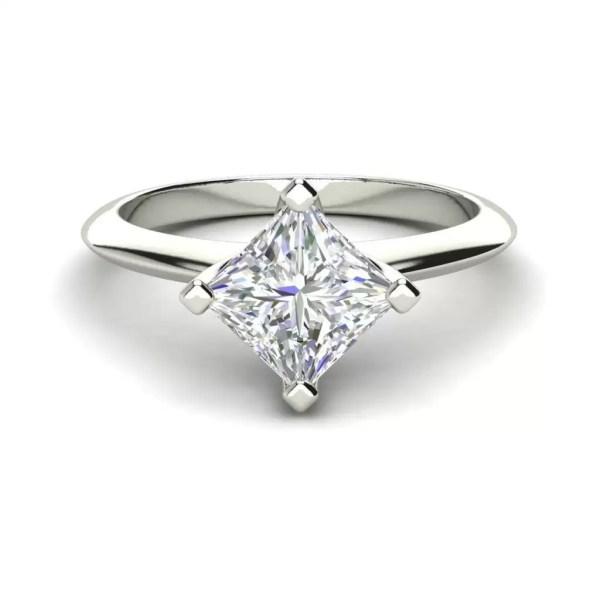 4 Prong 1 Carat VS2 Clarity D Color Princess Cut Diamond Engagement Ring White Gold 3