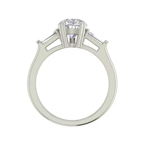 Baguette Accents 1 Ct VVS1 Clarity D Color Pear Cut Diamond Engagement Ring White Gold 2