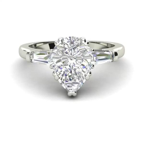 Baguette Accents 1.25 Ct VVS1 Clarity D Color Pear Cut Diamond Engagement Ring White Gold 3