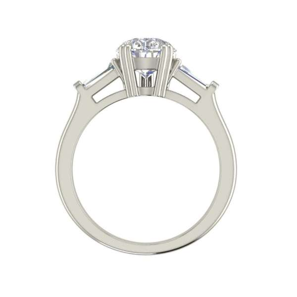 Baguette Accents 3 Ct SI1 Clarity D Color Pear Cut Diamond Engagement Ring White Gold 2