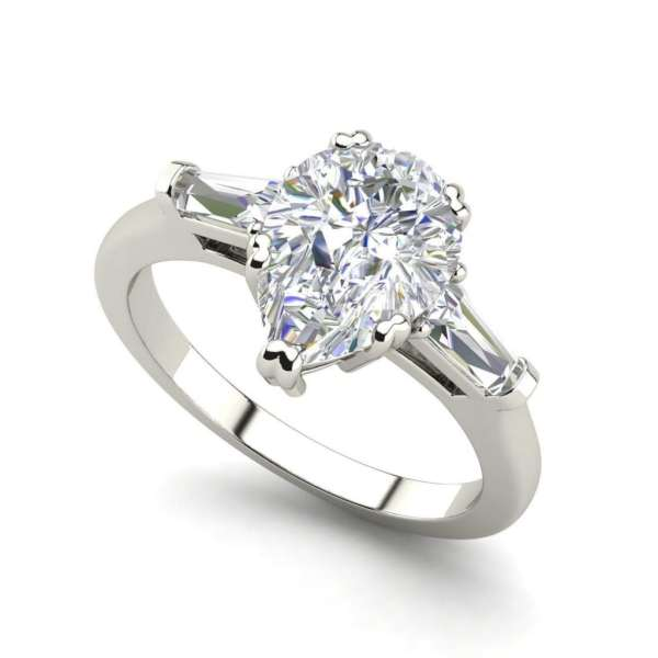 Baguette Accents 3 Ct SI1 Clarity D Color Pear Cut Diamond Engagement Ring White Gold