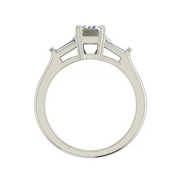 Baguette Accents 3 Ct VVS2 Clarity F Color Emerald Cut Diamond Engagement Ring White Gold 2