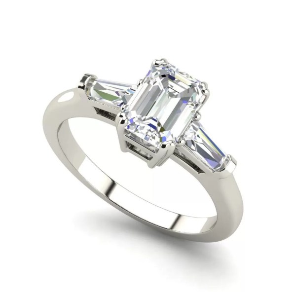 Baguette Accents 3 Ct VVS2 Clarity F Color Emerald Cut Diamond Engagement Ring White Gold