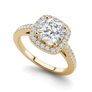 Halo 1.7 Carat VS2 Clarity F Color Cushion Cut Diamond Engagement Ring Yellow Gold