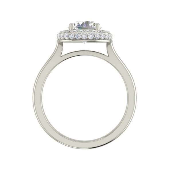 Halo Pave 1.15 Carat SI1 Clarity D Color Round Cut Diamond Engagement Ring White Gold 2