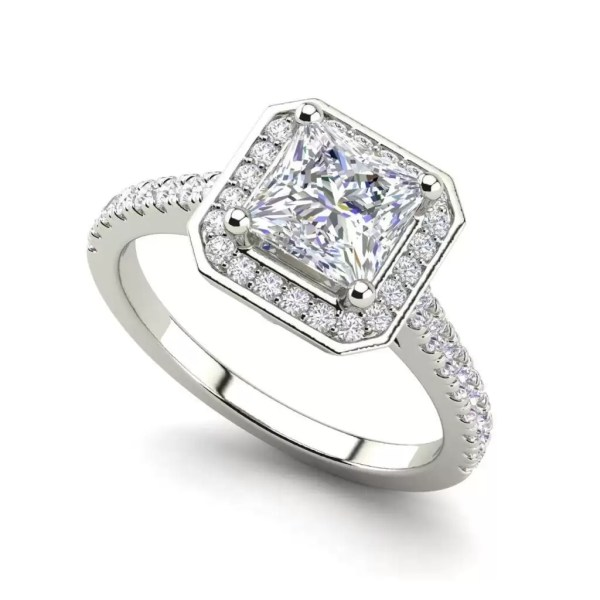 Halo Pave 2.45 Carat VS2 Clarity D Color Princess Cut Diamond Engagement Ring White Gold