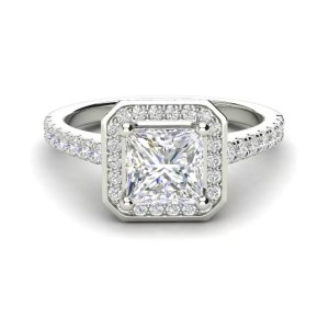 Halo Pave 2.95 Carat VS1 Clarity H Color Princess Cut Diamond Engagement Ring White Gold 3