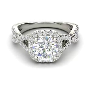 Halo Pave 1.15 Carat SI1 Clarity D Color Round Cut Diamond Engagement Ring White Gold 4